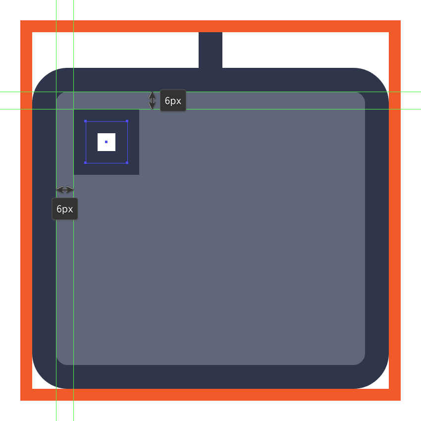 creating and positioning the main shapes for the keyboard icons first key