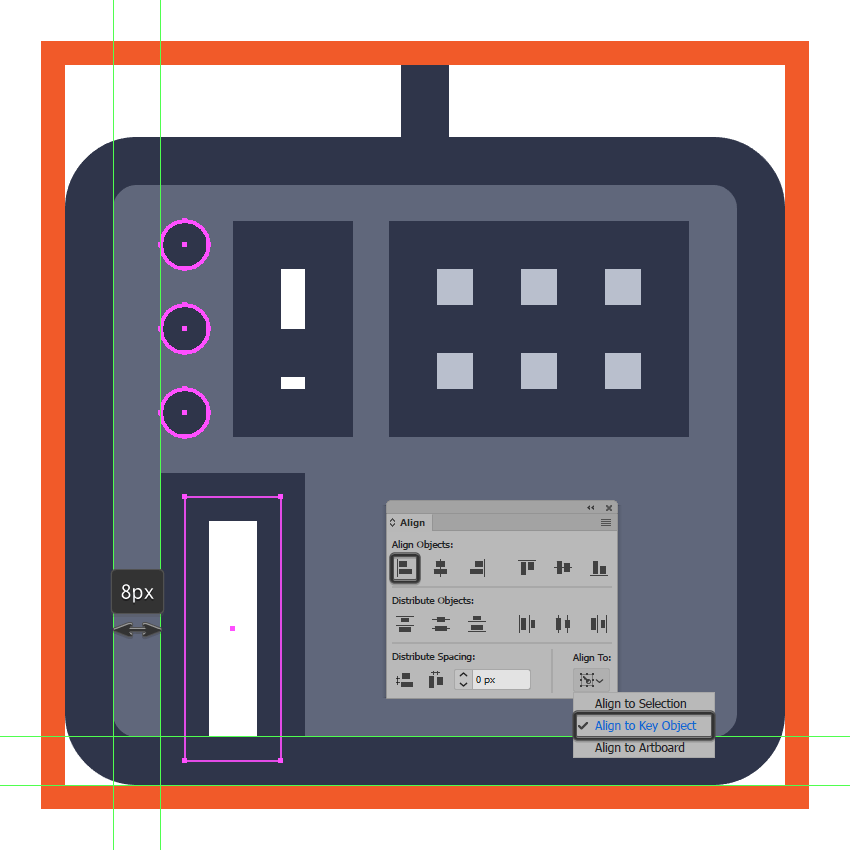 creating and positioning the main shapes for the midi controller icons first key