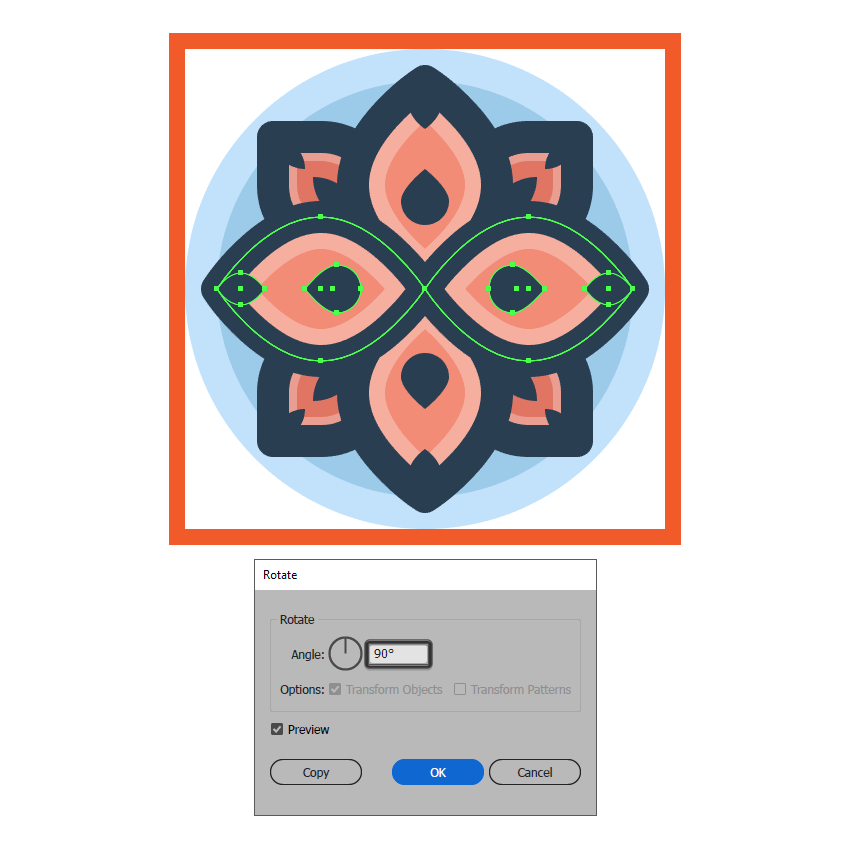 adding the larger side petals to the flower icon