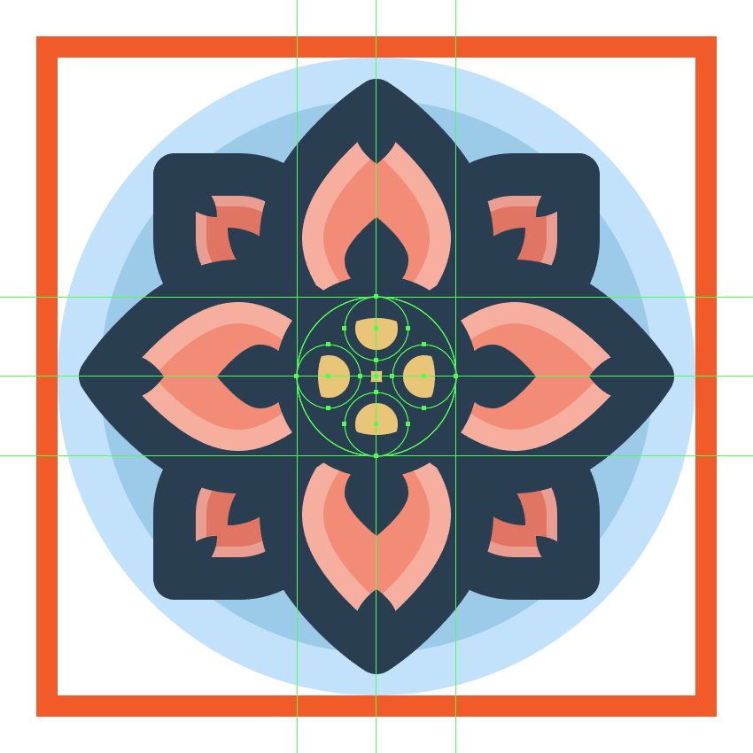 adding the larger stroke circles to the flower icons center section