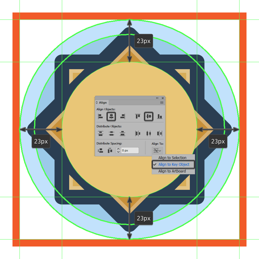 creating and positioning the main shape for the sun icons circular section