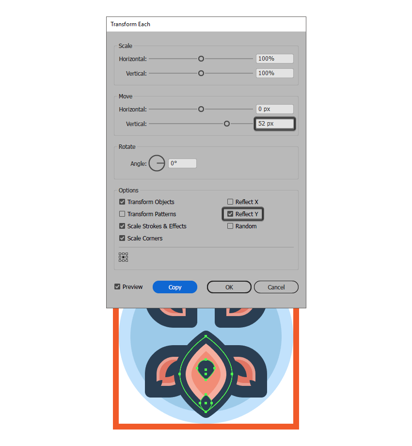 creating the flower icons bottom larger petal using the transform each function