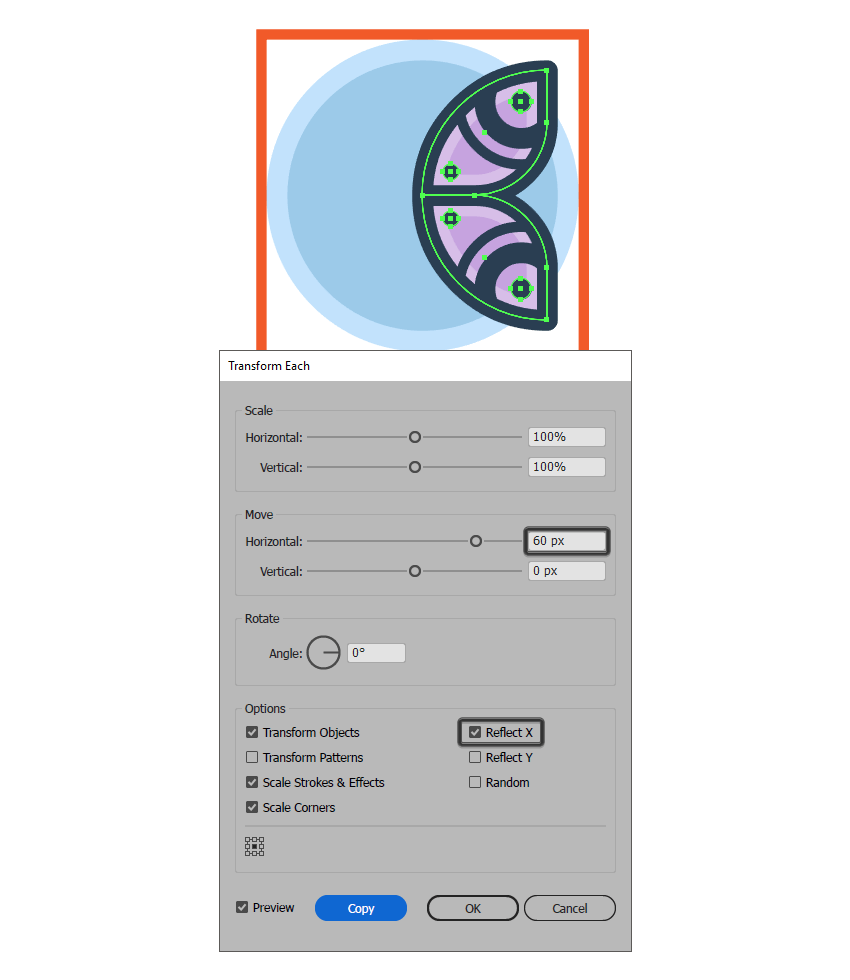 creating the butterfly icons right wing using the transform each function