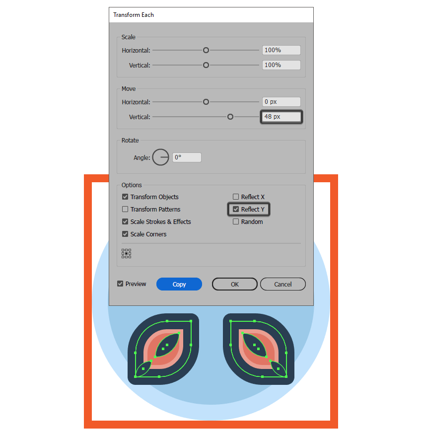 creating the flower icons bottom smaller petals using the transform each function