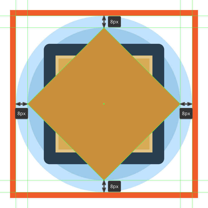 turning the sun icons larger square into a diamond