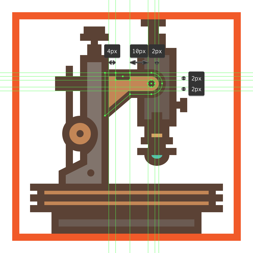 adding details to the microscopes right extending arm
