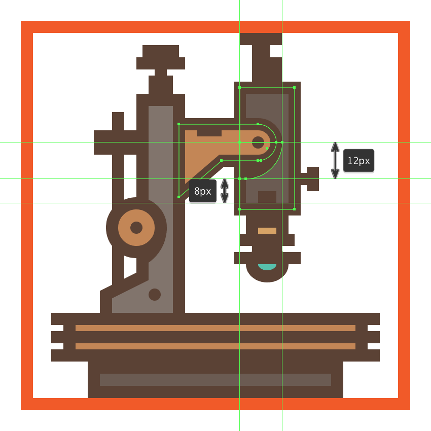 adding the hard shadow to the microscopes right extending arm