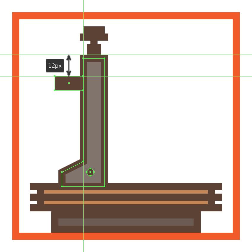 adding the horizontal connector segment to the microscopes arm