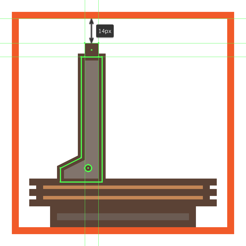 creating and positioning the bottom section of the microscopes tightening screw