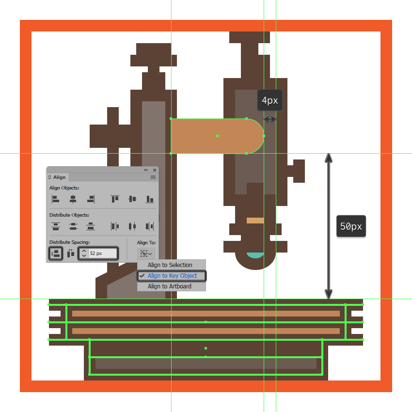 creating and positioning the main shape for the upper section of the microscopes right extending arm