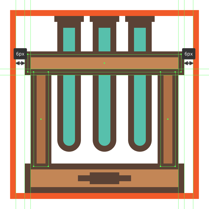 creating and positioning the main shapes for the upper section of the glassware icons wooden rack