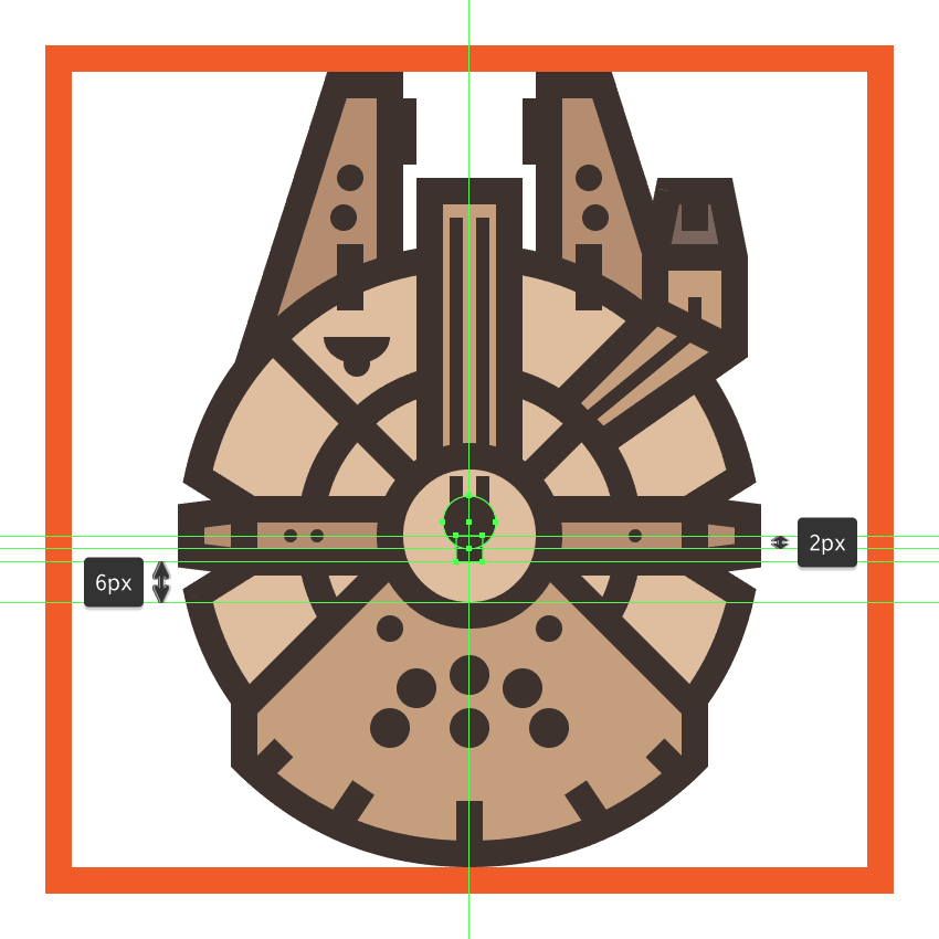 adding the small rectangle to the millennium falcons quad laser cannon