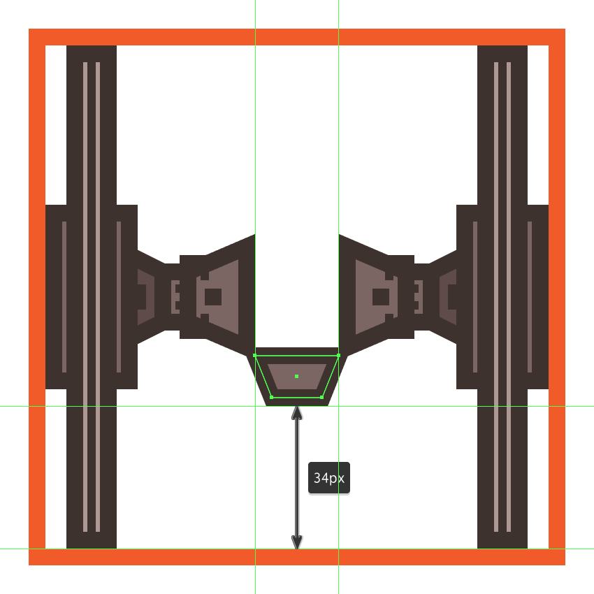 creating the main shapes for the tie fighters rear end