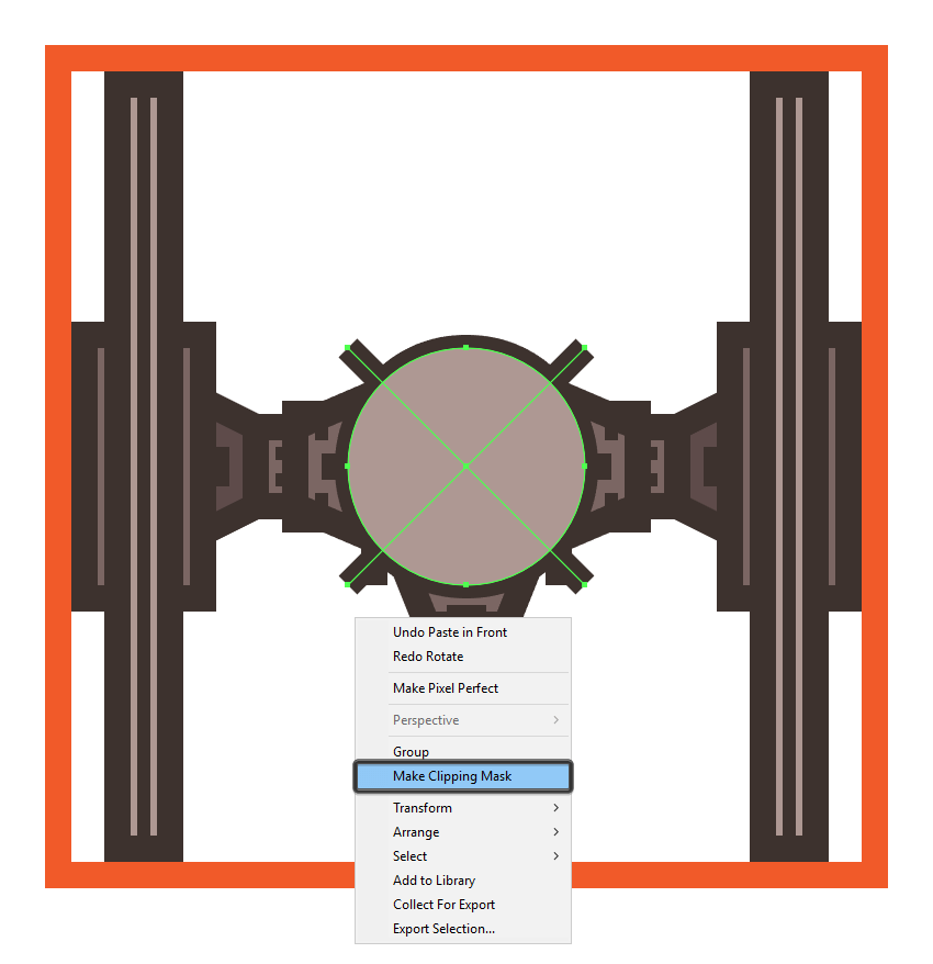 masking the tie fighters cross section
