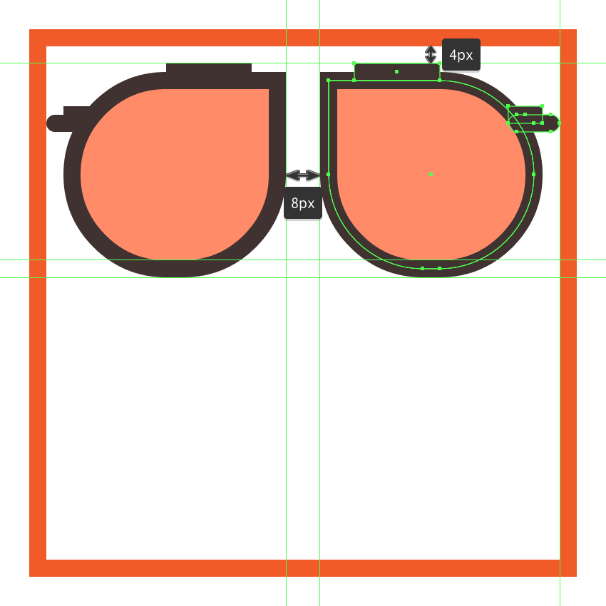 adding the glasses right lens