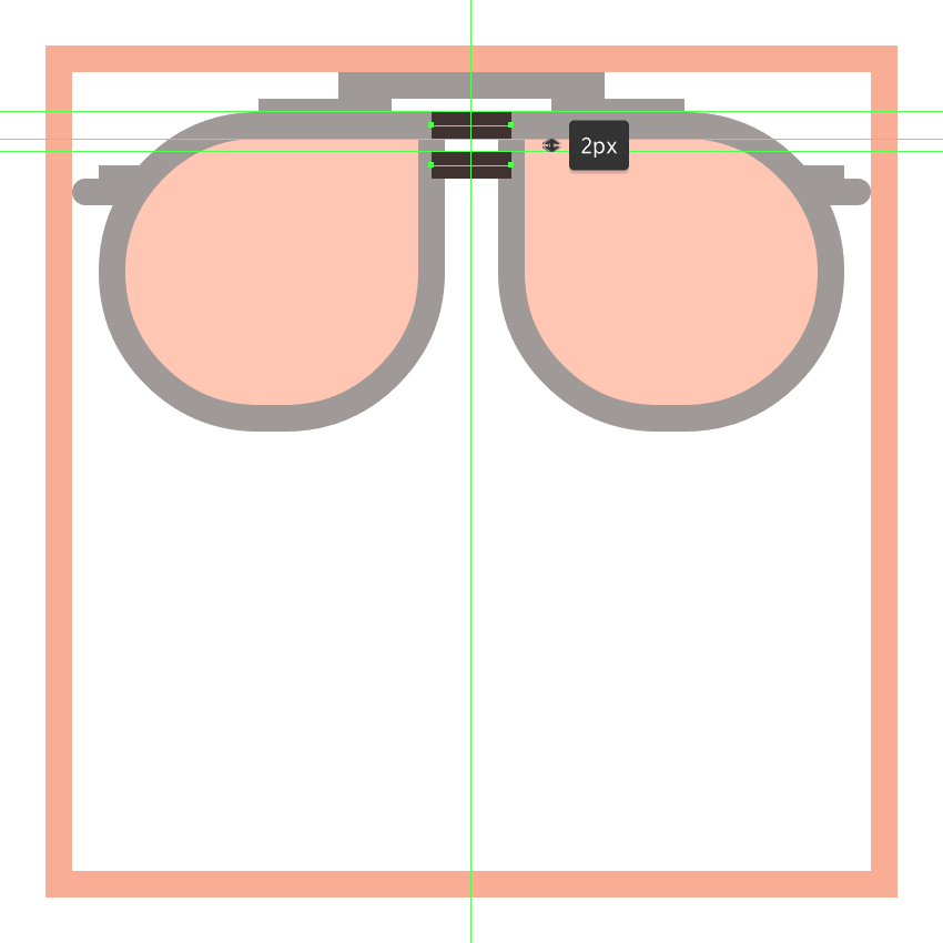 adding the smaller bridges to the glasses upper section