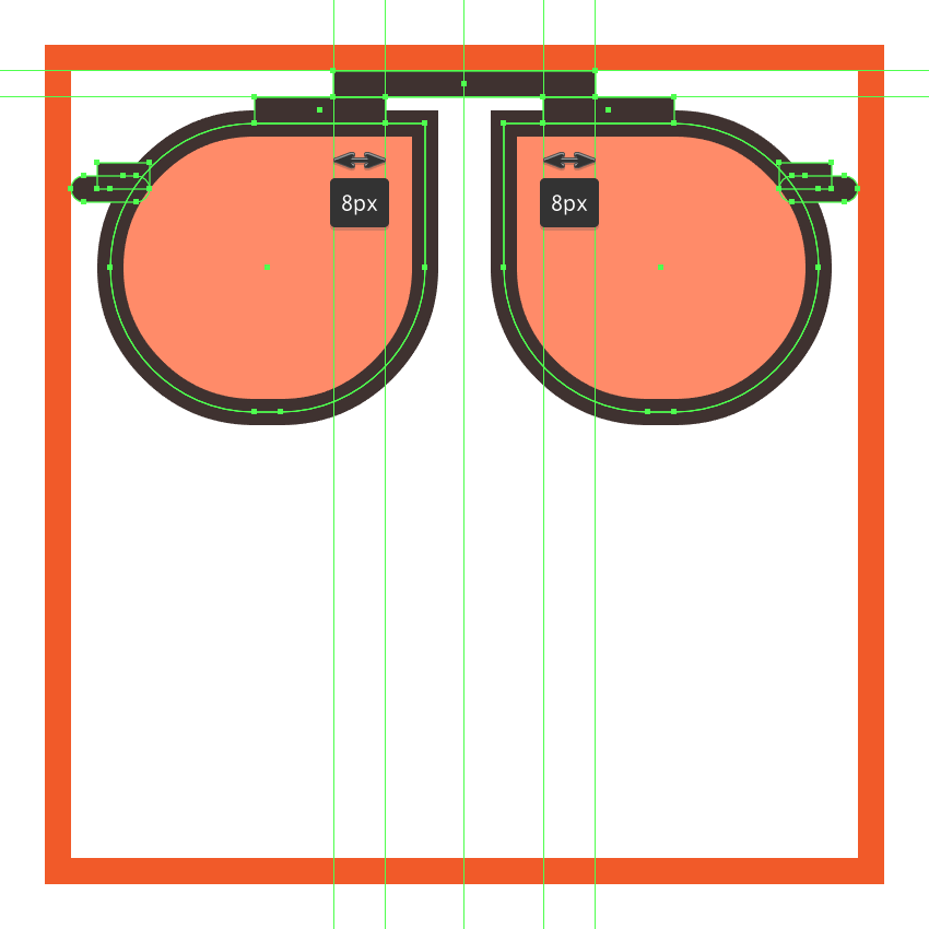 adding the top bridge to the glasses upper section