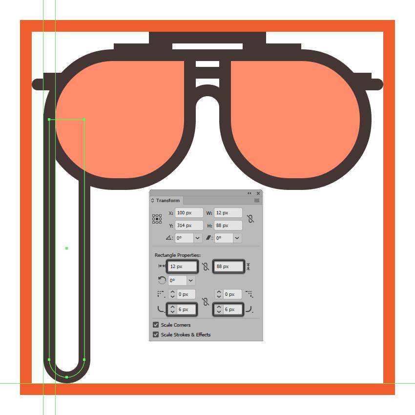 adjusting the shape of the glasses left string section