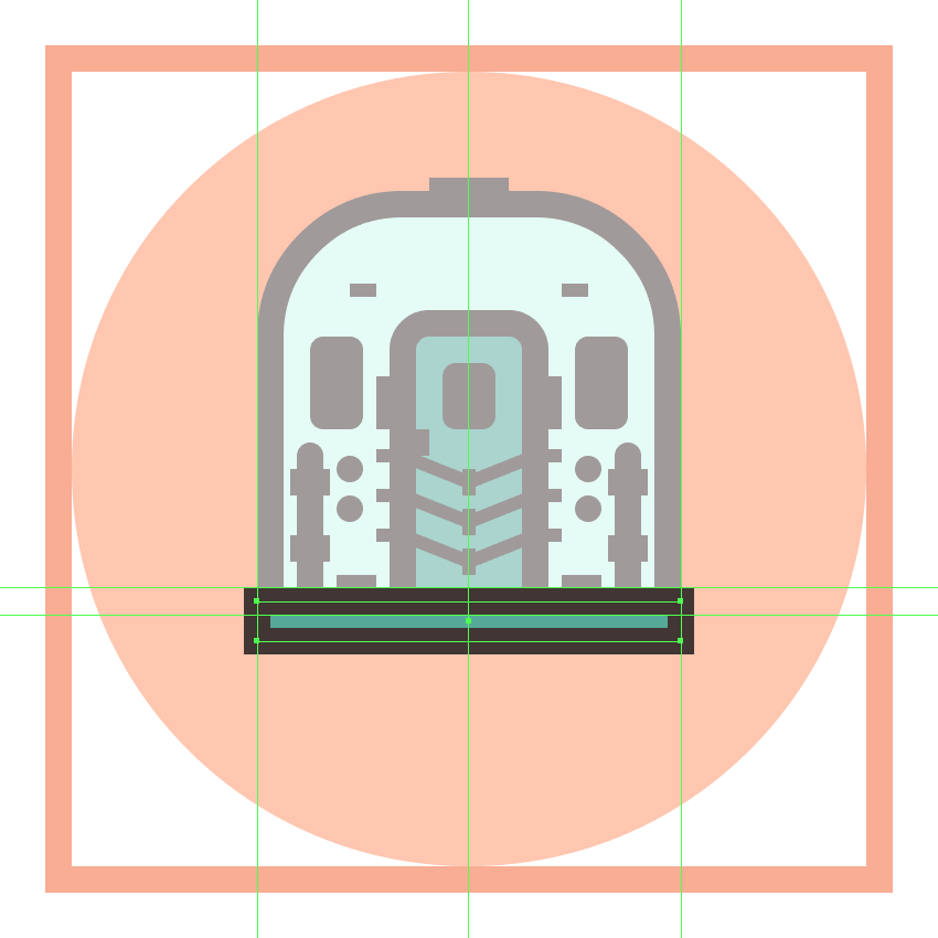 creating and positioning the main shapes for the trains bottom section