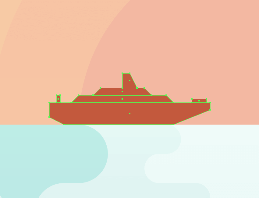 adding the cruise ship to the illustration