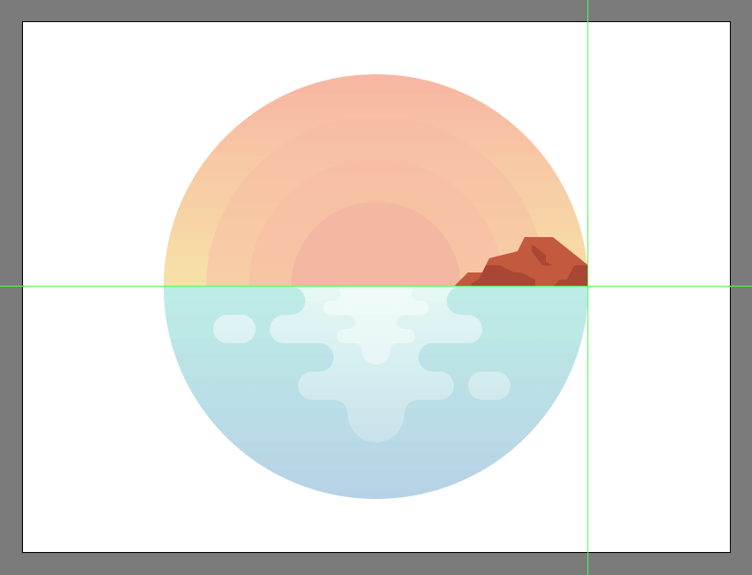 adding the darker sections to the illustrations island