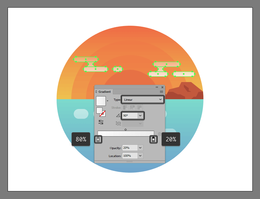 applying the linear gradient over the illustrations two cloud groups