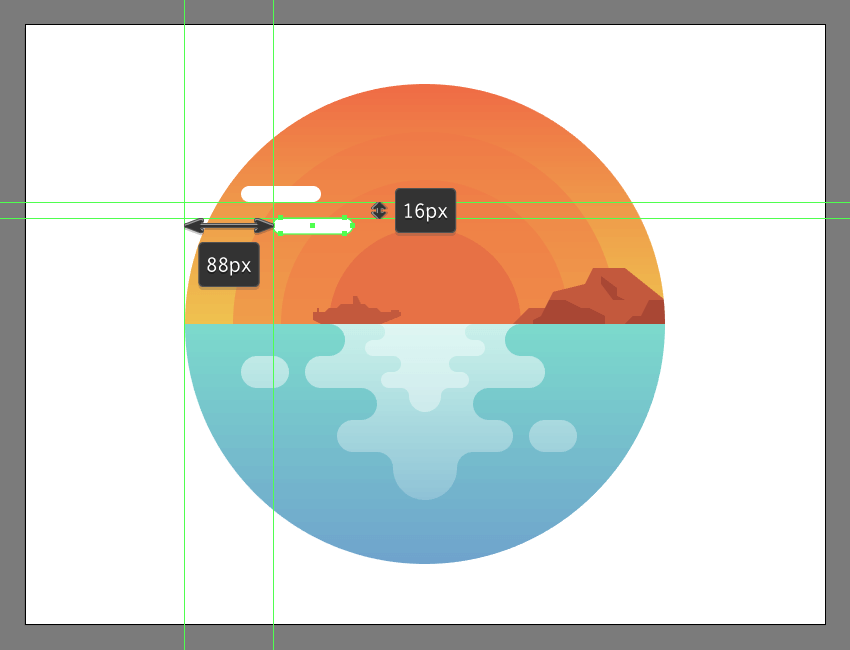 creating and positioning the second shape for the illustrations first cloud group