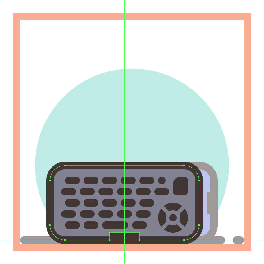 adding the bottom rectangular insertion to the second phones front bottom half