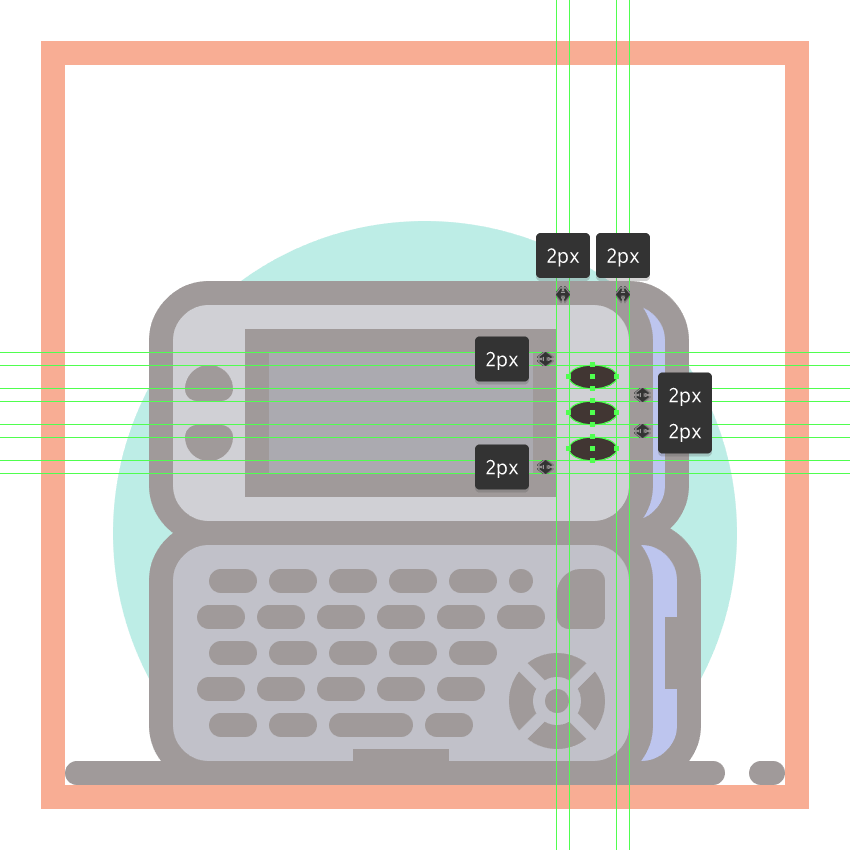 adding the three elliptical buttons to the front section of the second phones upper half