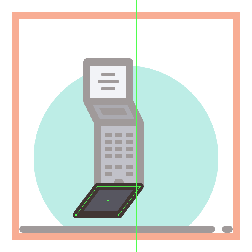 creating and positioning the main shapes for the first phones bottom section