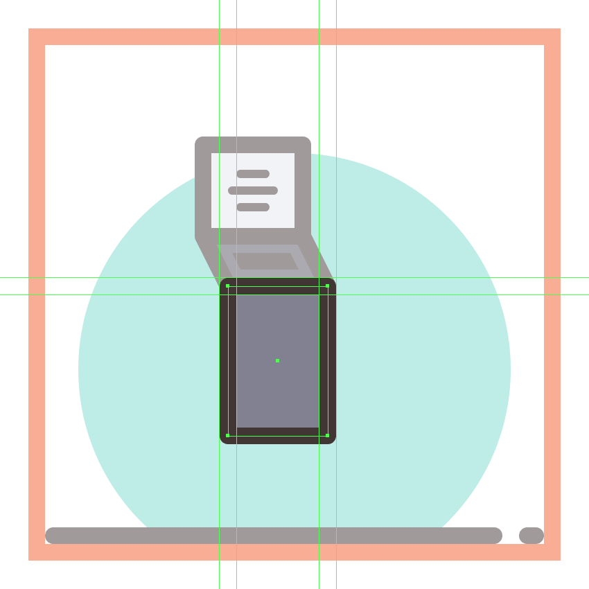 creating and positioning the main shapes for the first phones dial section