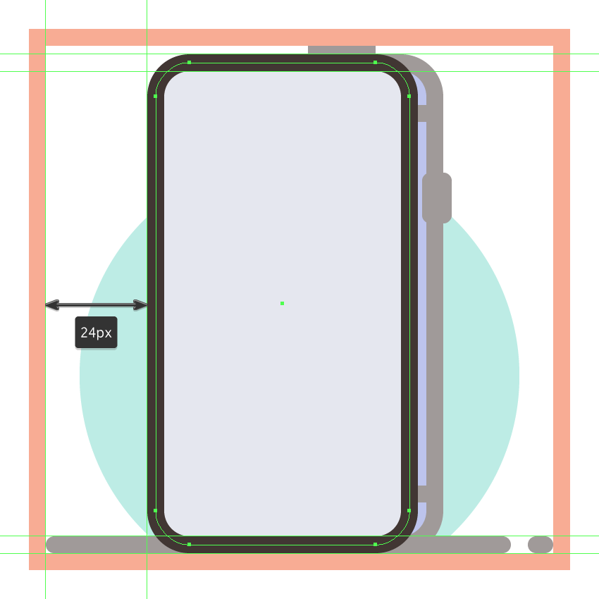 creating and positioning the main shapes for the third phones front section