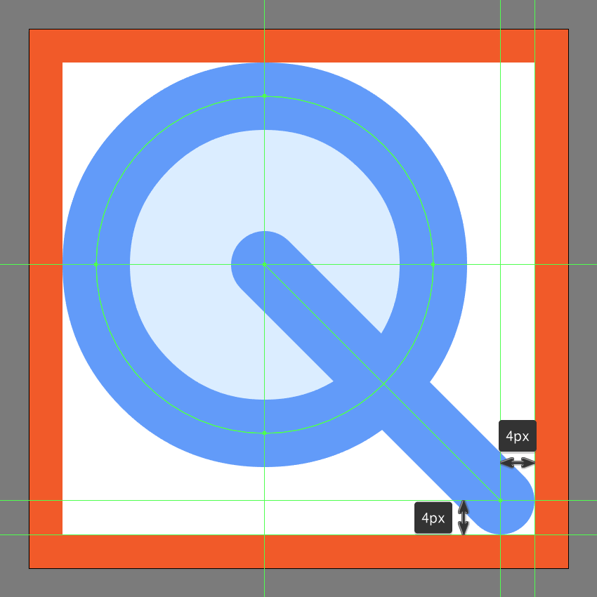 adding the handle section to the search icons lens