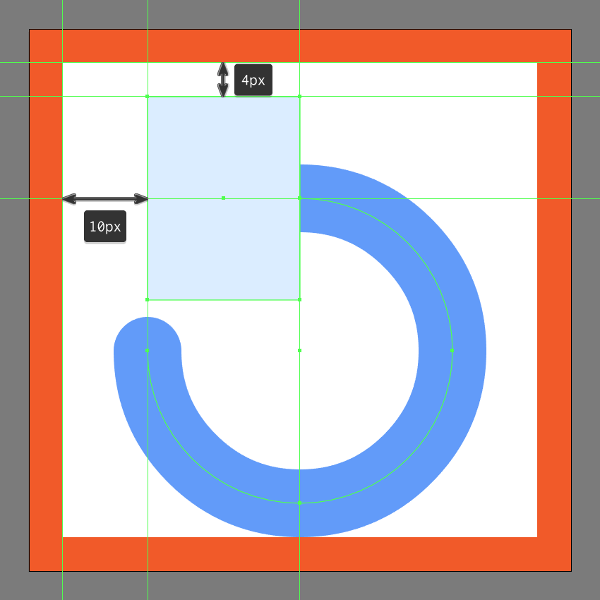 creating and positioning the main shape for the refresh buttons arrow head
