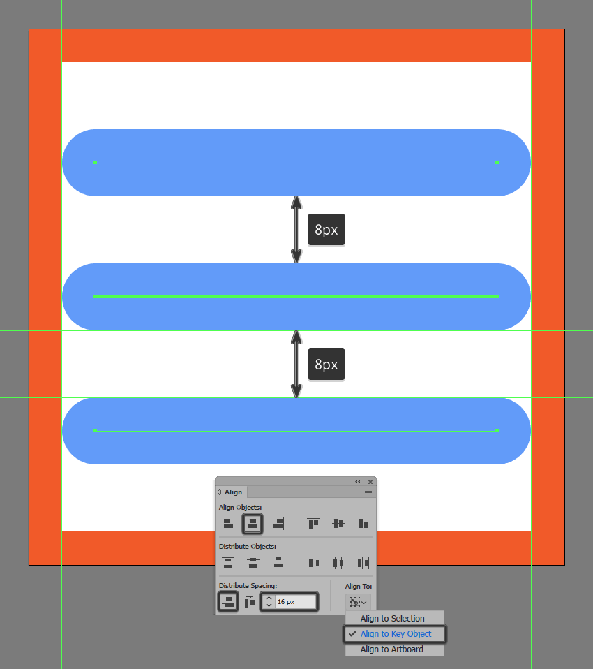 creating and positioning the main shapes for the settings buttons bar segments