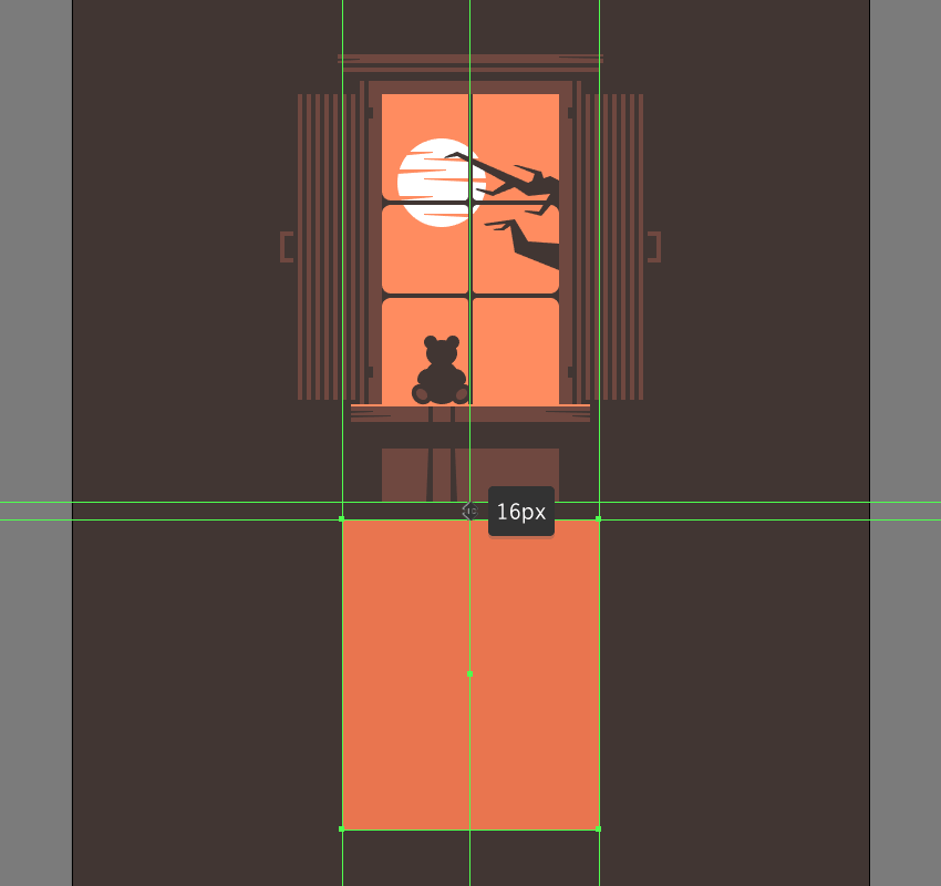 creating and positioning the main shape for the illustrations projected window