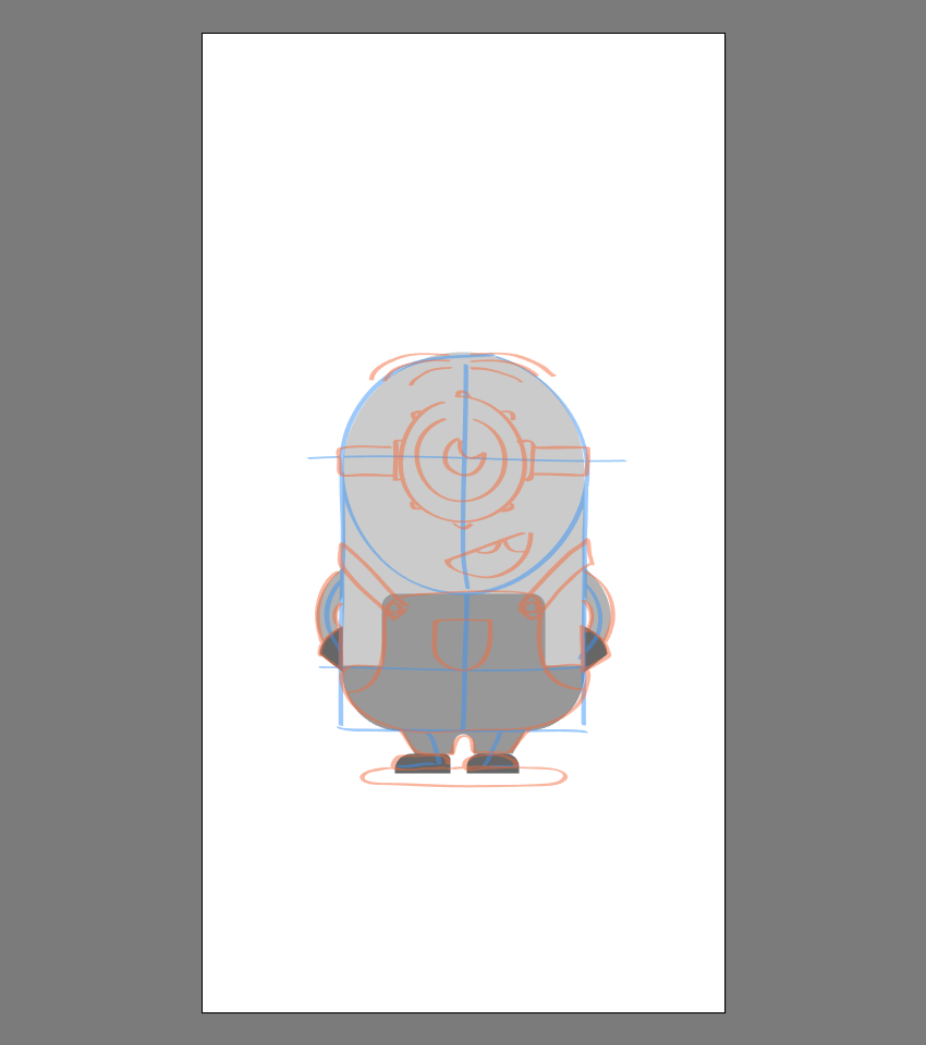 creating the main shapes for the body of Stuart
