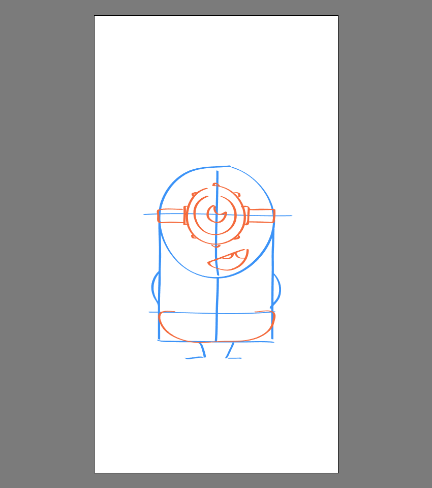 drawing the lower section of the pants for Stuart