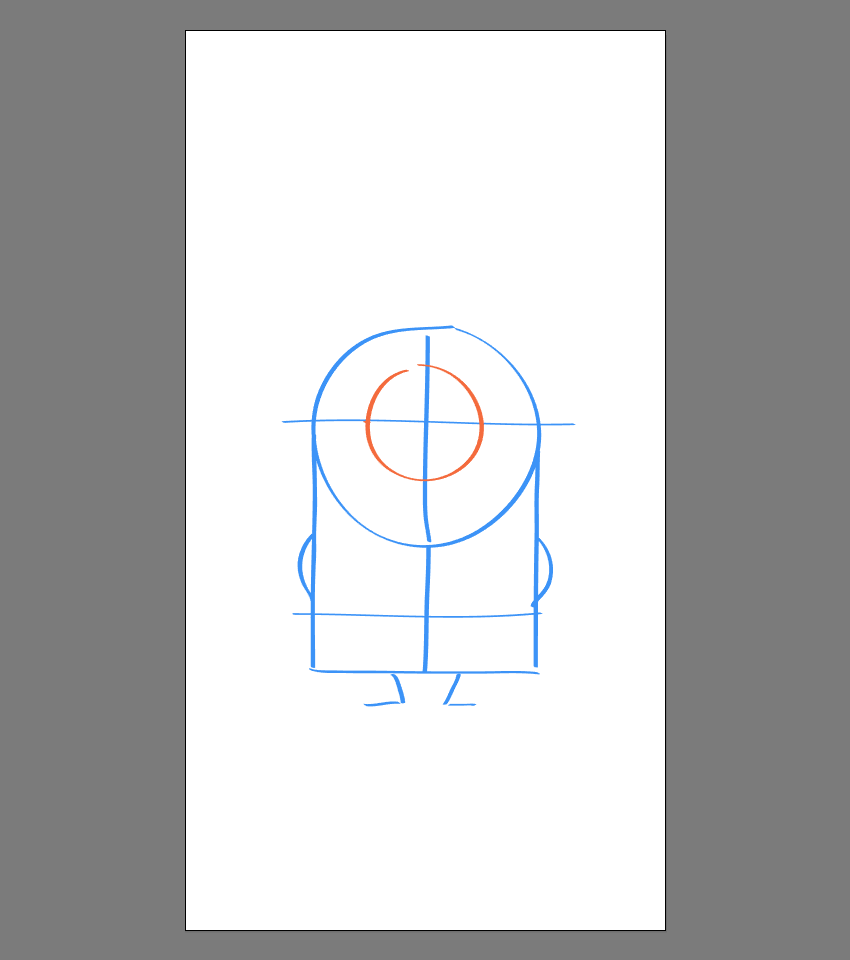 drawing the outer section of the goggle for Stuart