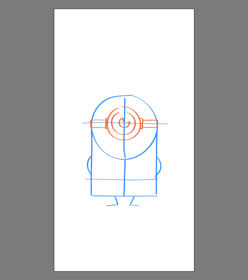 drawing the side sections of the goggle for Stuart