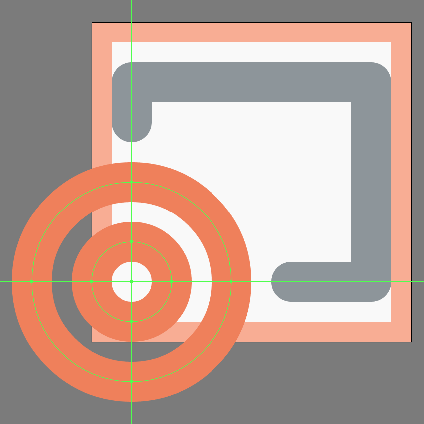 creating and positioning the larger circle onto the cast button