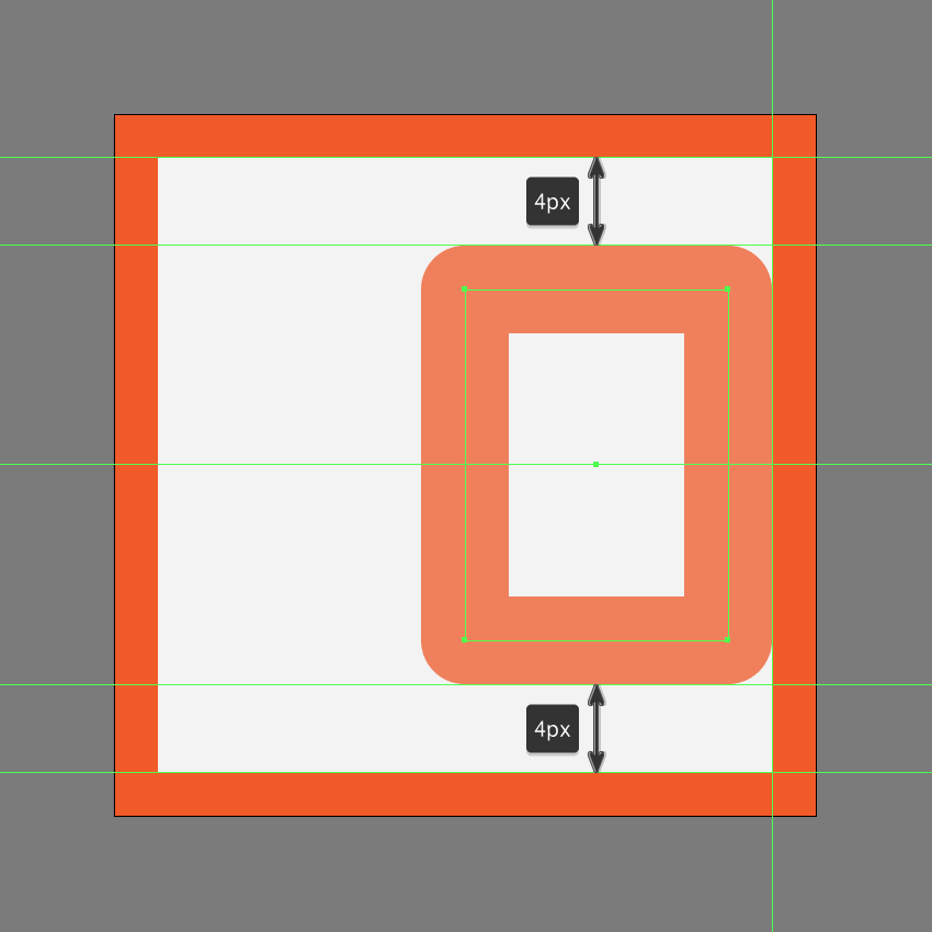 creating and positioning the main shape for the right arrow of the fast forward button