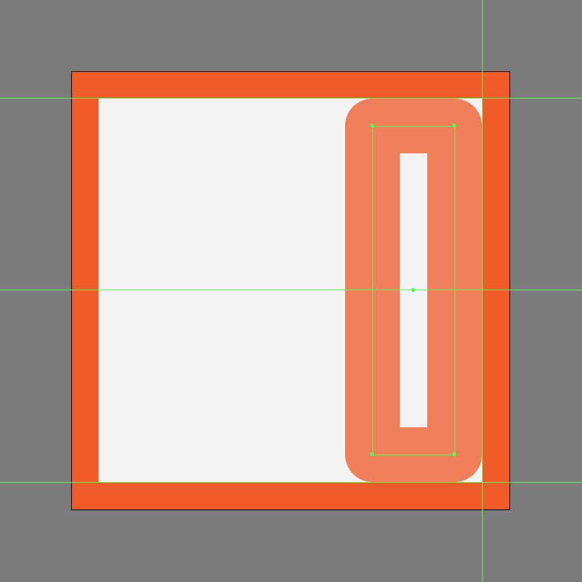 creating and positioning the main shape for the right section of the skip forward button