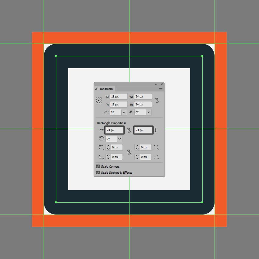 creating and positioning the main shape for the stop button
