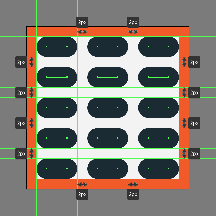 creating and positioning the main shapes for the eq button