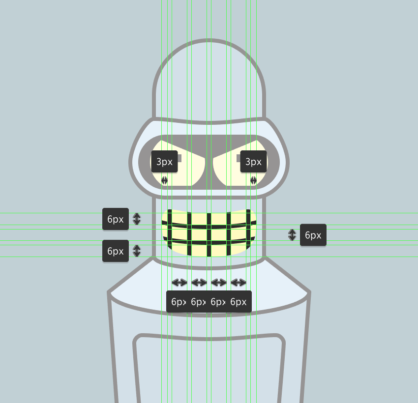adding the teeth to the mouth