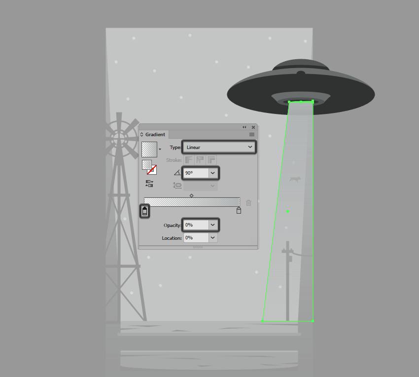 adding a gradient to the tractor beam ray