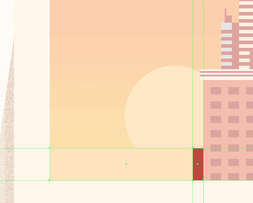 adding the hard shadow to the bottom-left building