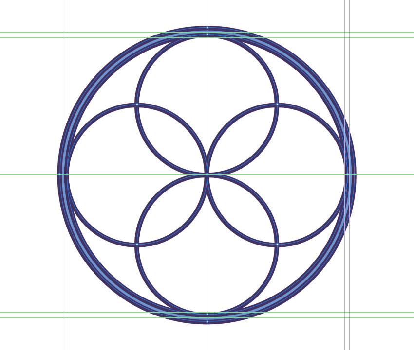adding the main circles to the woven web