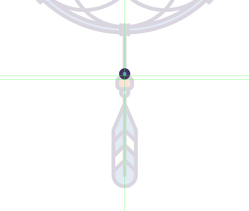 adding the top bead to the middle feather